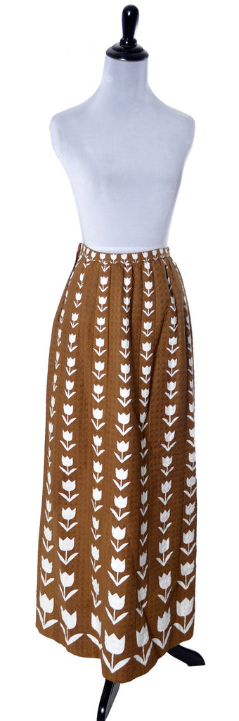 1974 Documented Givenchy Brown Floral Vintage Maxi Skirt - Dressing Vintage
