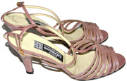 1970's NEW Strappy Pink Leather Shoes Chaussures Givenchy Paris 8B - Dressing Vintage