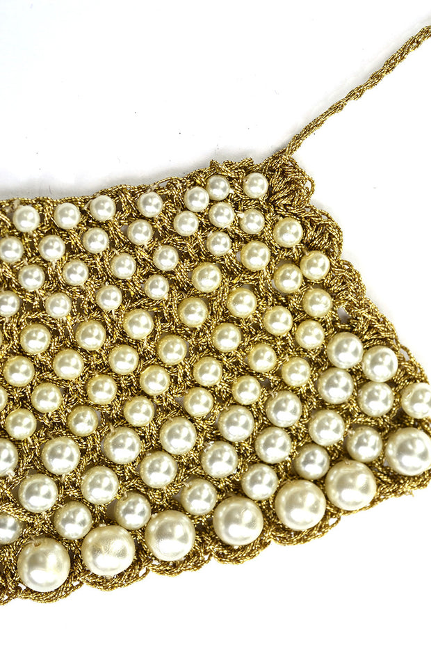 1960s Vintage Gold Mesh Pearl Collar Choker Necklace
