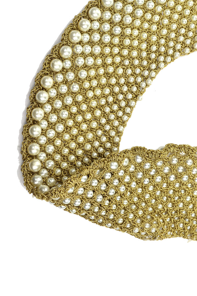 60s Vintage Gold Mesh Pearl Collar Choker Necklace