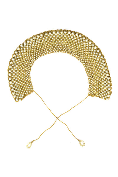 Vintage Gold Mesh Pearl Collar Choker Necklace