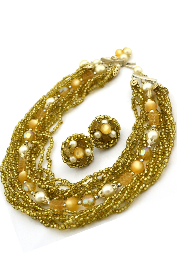 1950s Vintage Necklace Multi Strand and Earrings Demi Parure - Dressing Vintage