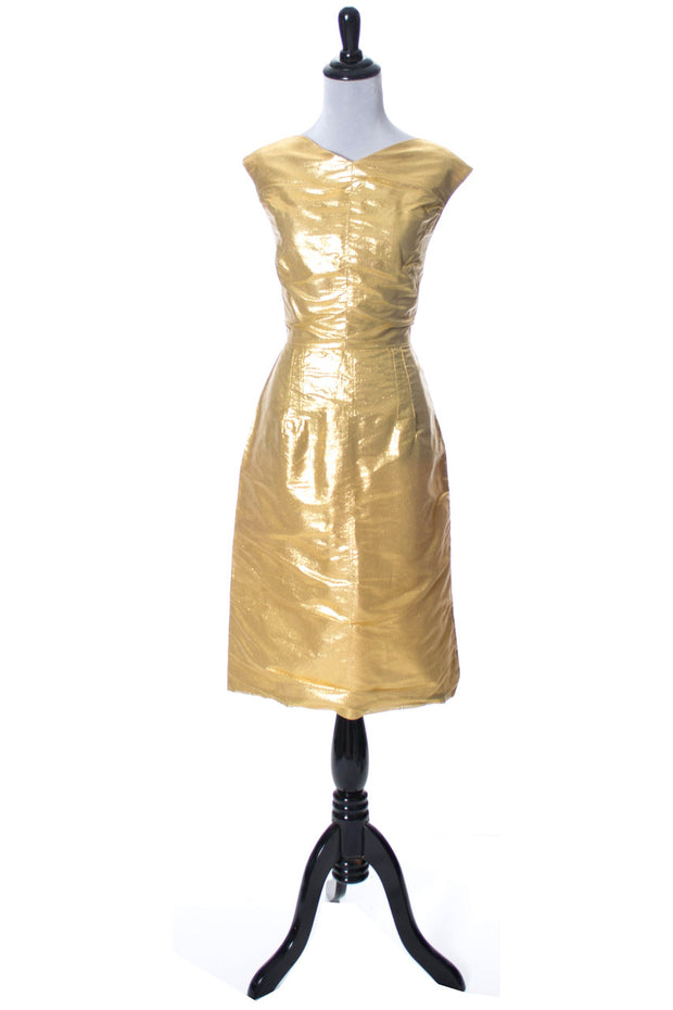 1960s Bombshell Gold Lame Vintage Cocktail Party Dress SOLD - Dressing Vintage