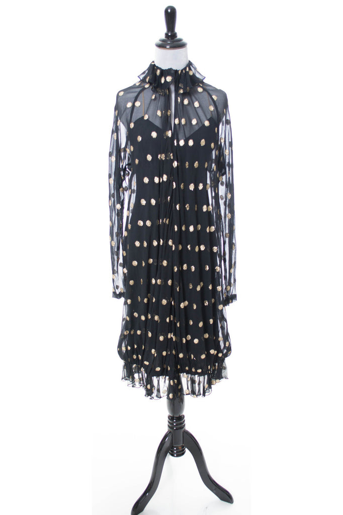 Vintage 80s gold lame polka dot dress