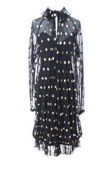 Black Chiffon Vintage Party Dress with Gold Polka Dots