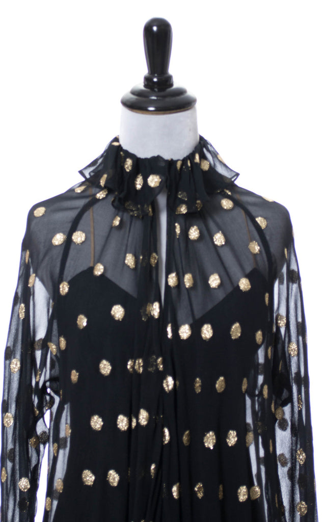 Gold lame dot vintage sheer silk black dress