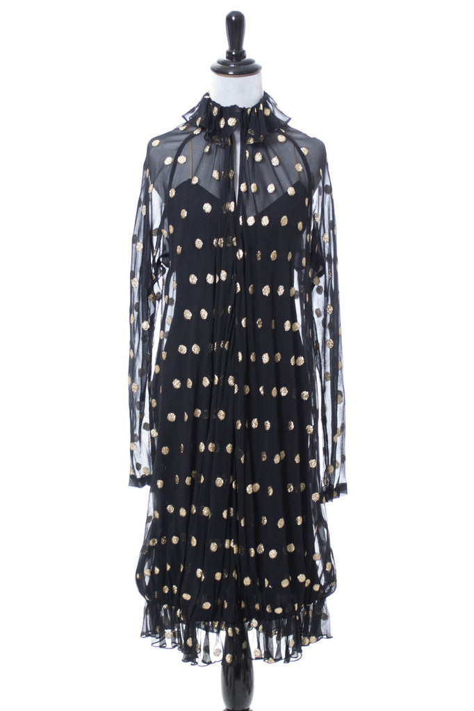 1980s vintage gold dot black dress