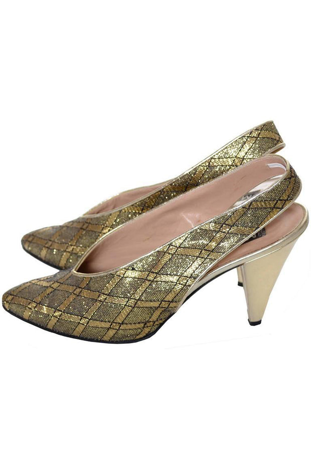 Maud Frizon vintage gold slingback heels with crisscross design