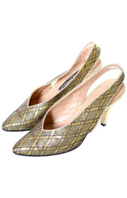 Maud Frizon vintage gold slingback heels size 7.5 made in Italy