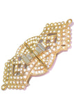 Gold vintage dress or wedding gown sash buckle with rhinestones