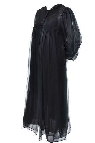 1960's Youth Guild Black Vintage Maxi Dress with Pleats and Rhinestones
