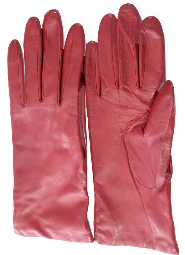 Grandoe Vintage Gloves Cherry Red Leather Cashmere Lined - Dressing Vintage