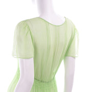 1920s Hungarian Embroidered Green Peasant Dress w Smock Pleating