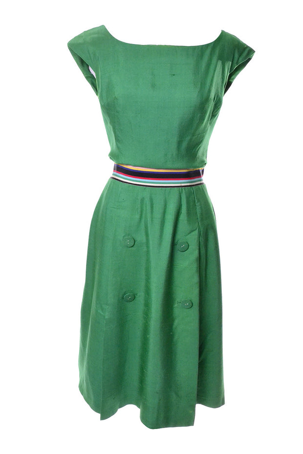 Green Silk Vintage Day Dress 1960's Rainbow Ribbon - Dressing Vintage