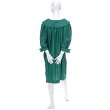 1970s Yves Saint Laurent Vintage Dress Green Silk YSL Rive Gauche - Dressing Vintage