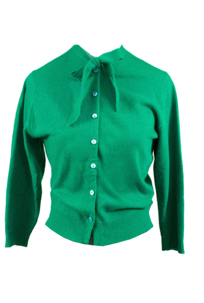 1950s Kelly Green Vintage Cashmere Cardigan Sweater Bow - Dressing Vintage
