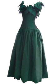 1980s Victor Costa Vintage Evening Gown Iridescent Green Bows 6/8 - Dressing Vintage