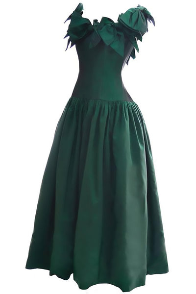 6a431488e86 1980s Victor Costa Vintage Evening Gown Iridescent Green Bows 6 8 - Dressing  Vintage