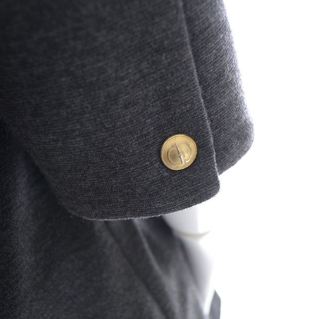 Zip Front Long Gray Wool Jacket with Gold Zipper Pockets and Gold Buttons by Gucci