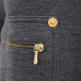 Gucci made in Italy Zip Front Long Gray Wool Jacket with Gold Zipper Pockets