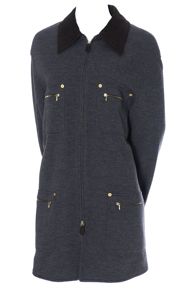 Gucci Zip Front Long Gray Wool Jacket with Gold Zipper Pockets