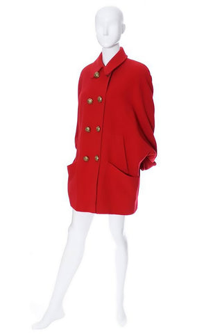 Guy Laroche Boutique Red Wool Oversized Coat 6 Buttons