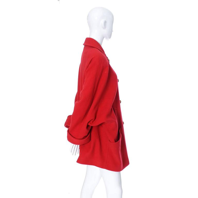 Guy Laroche lined red wool coat with brass buttons and dolman sleeves