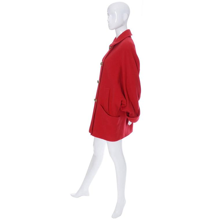 Vintage red wool coat with dolman sleeves by Guy Laroche