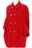 Guy Laroche red wool jacket with large brass buttons