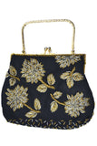 Vintage Evening Bag Gold Silver Beaded