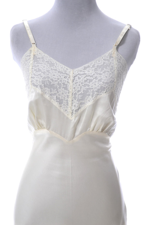 1940s Ivory Heavenly Silk Full Slip with Older Fischer Heavenly Silk Label - Dressing Vintage