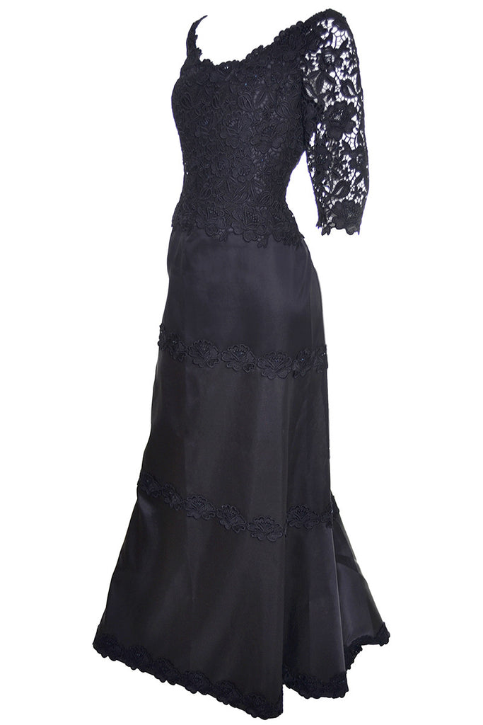 Helen Morley Dress Designer Black Evening Gown Lace Bergdorf Goodman ...