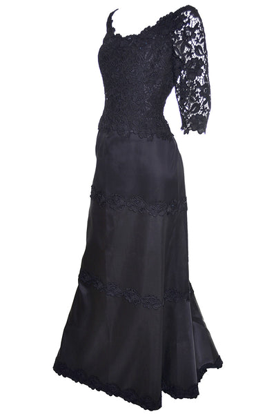 Helen Morley Designer Dress Black Evening Gown Lace Rhinestones Bergdorf Goodman - Dressing Vintage
