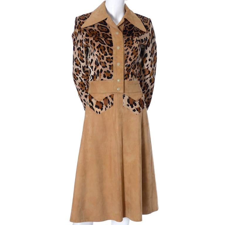 1970's suede dress with leopard print pony fur details