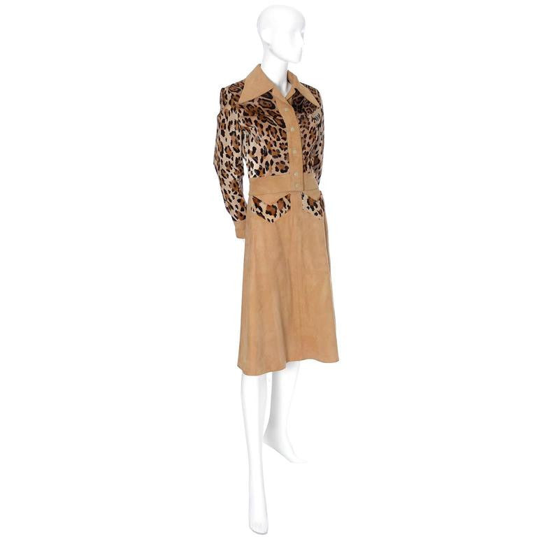 1970's tan suede ensemble with leopard print