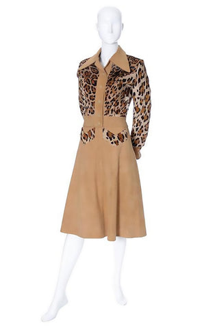 1970's vintage skirt and top suede dress with leopard pony fur details