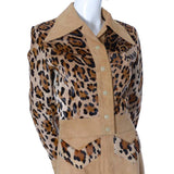 Detail of the leopard printed pony fur on this 1970's vintage suede ensemble