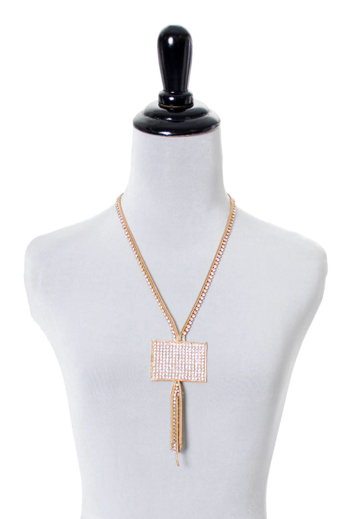 A Beautiful Hobe Vintage Rhinestone Gold Fringe Necklace