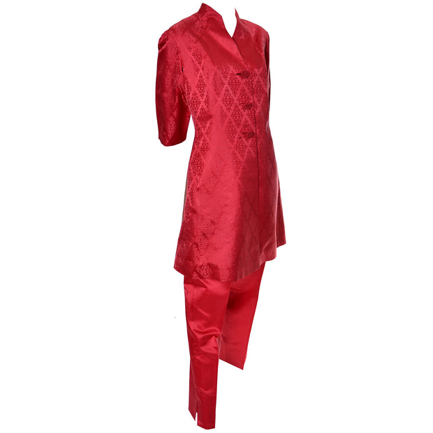 Red Satin Pantsuit Hong Kong Vintage Pajamas Hostess Outfit 1960s - Dressing Vintage