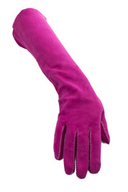 Hot Pink suede vintage ladies gloves - Dressing Vintage