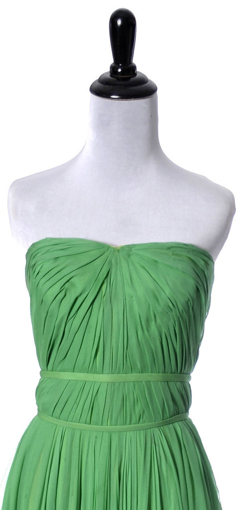 Howard Greer green vintage dress silk chiffon