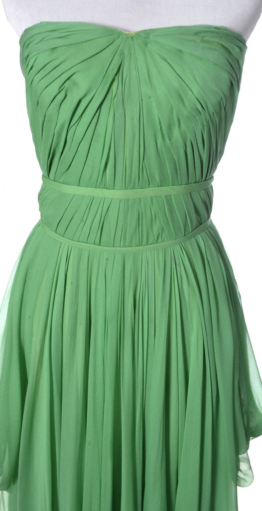Green silk chiffon vintage dress Howard Greer 1950's