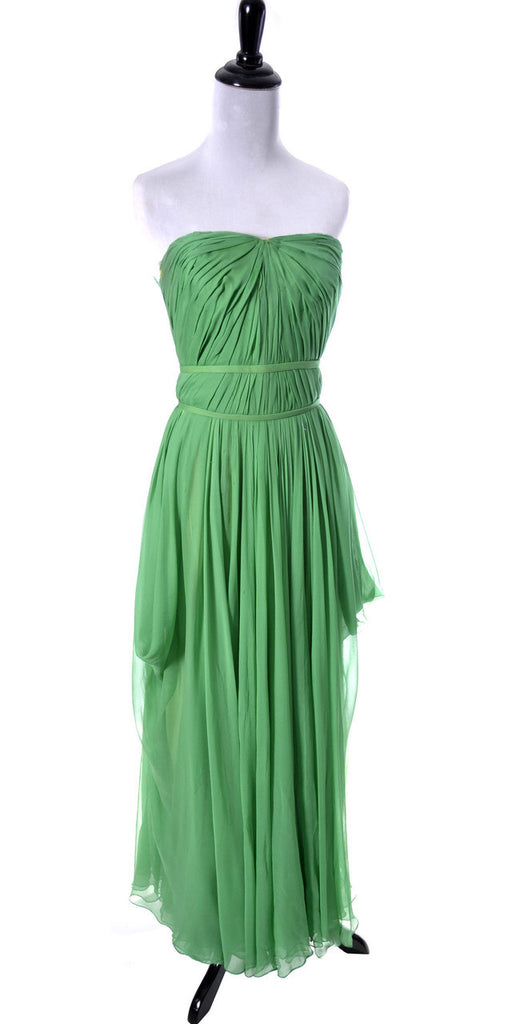Green silk chiffon Howard Greer vintage dress