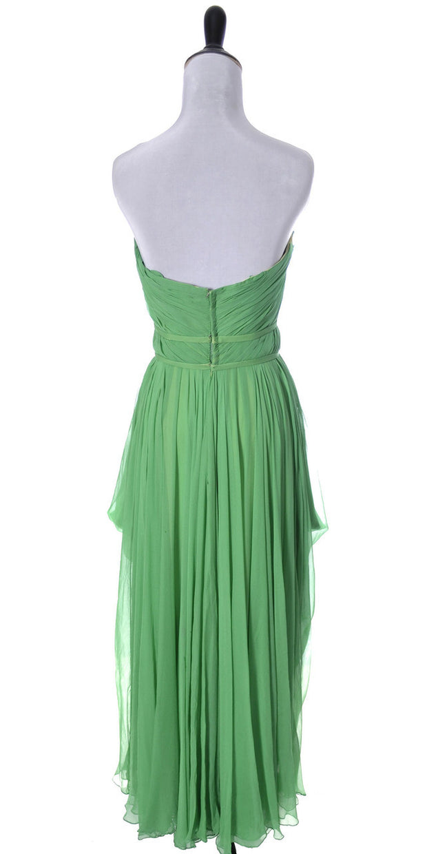 1950's Draped Grecian Howard Greer Green Silk Chiffon Vintage Dress - Dressing Vintage