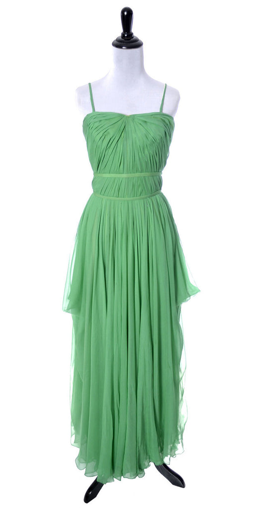 Howard Greer vintage dress 1950's green silk chiffon