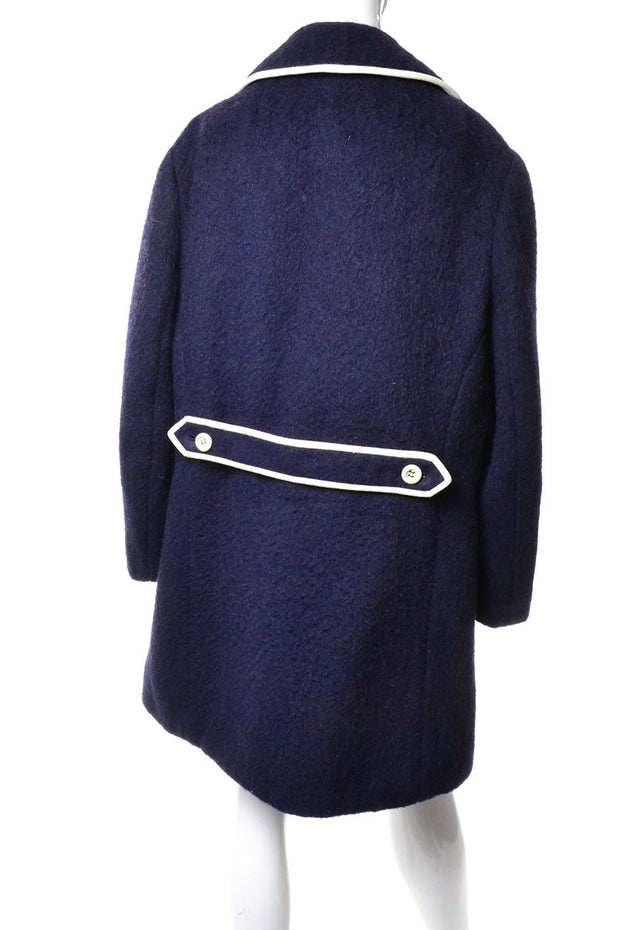 1960s Mod Blue Mohair and Wool Vintage Coat