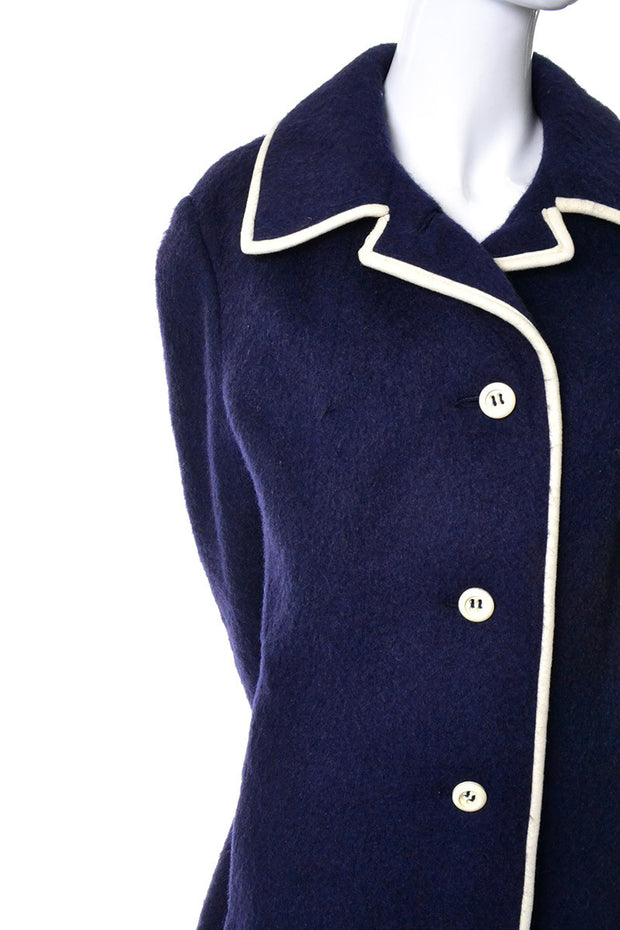 60's Mod Wool and Mohair Blue Coat