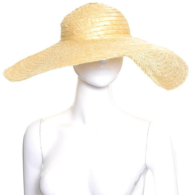 Wide brim vintage floppy straw hat