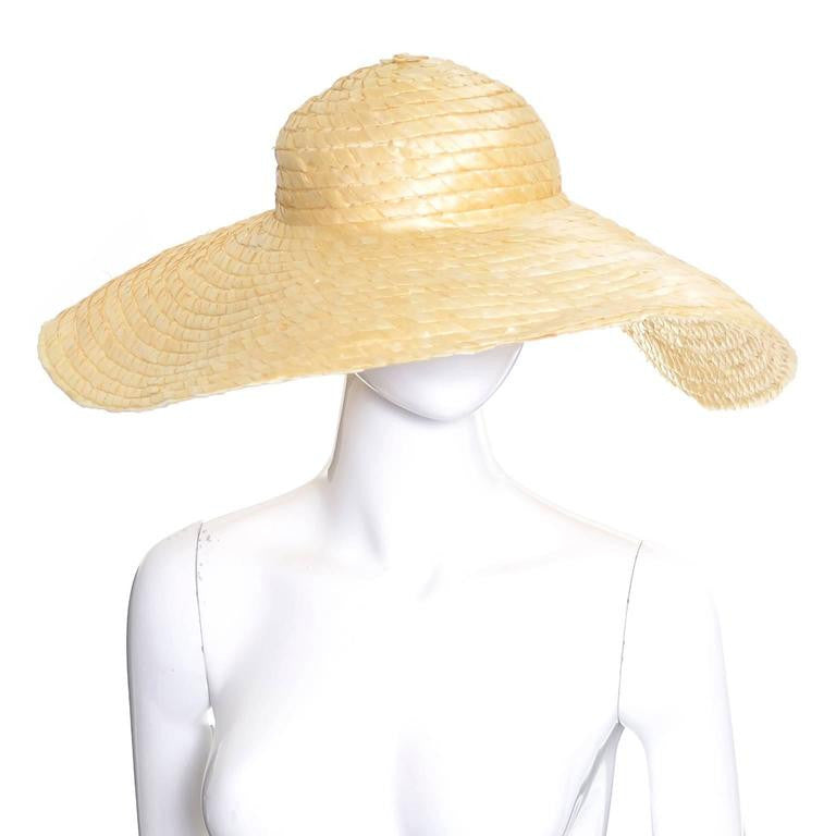 I Magnin vintage woven straw floppy hat with extra wide brim