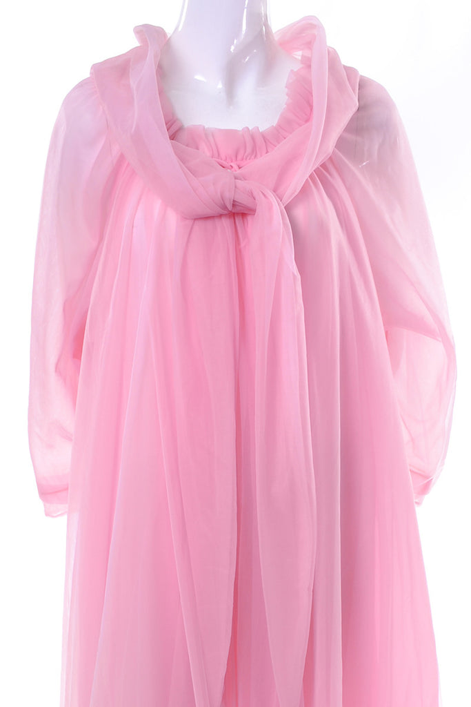 Vintage Nightgown Robe Peignoir Pink Chiffon